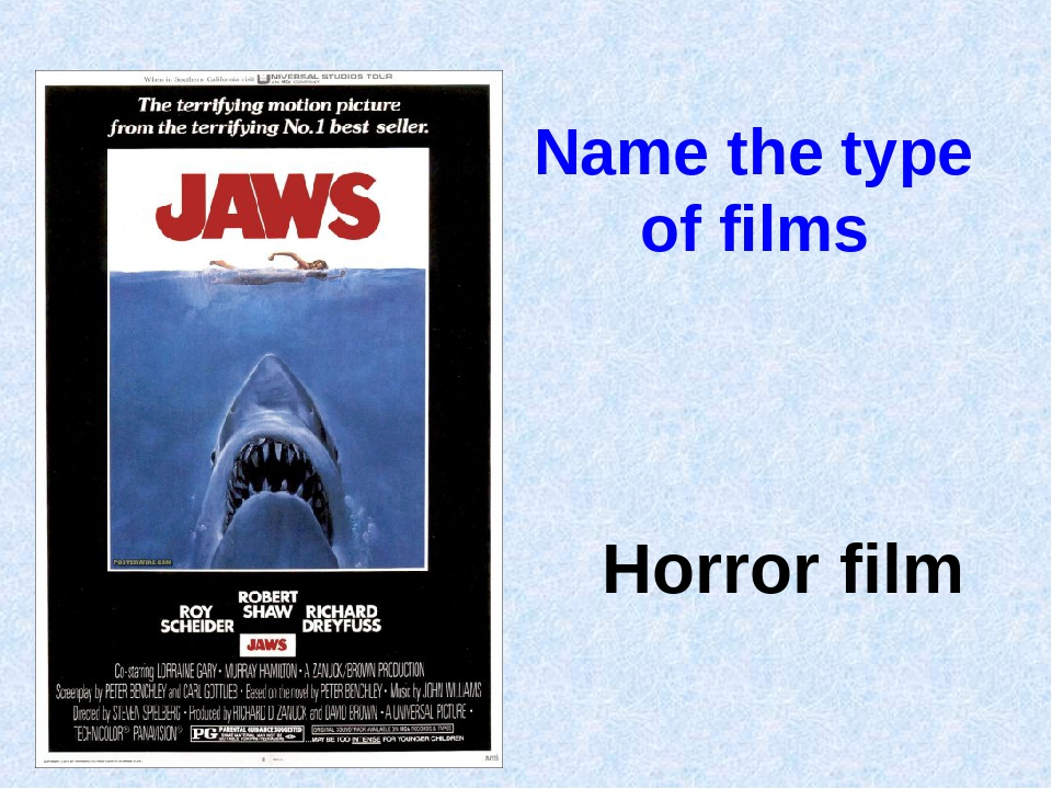 Name the type of films Horror film
