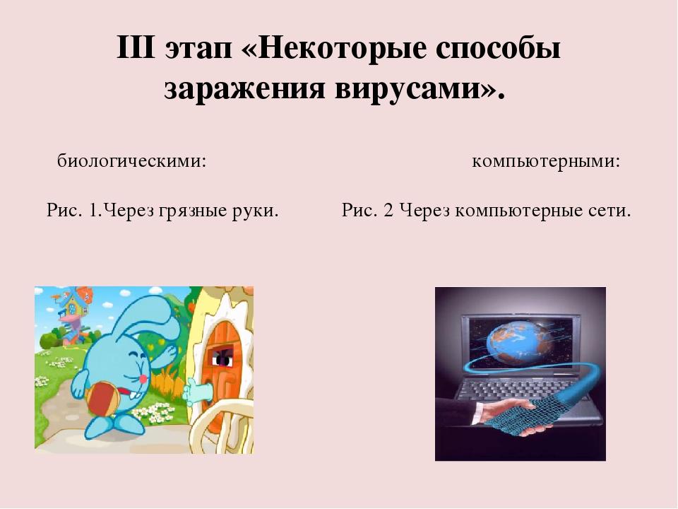 III этап «Некоторые способы заражения вирусами». биологическими: компьютерным...