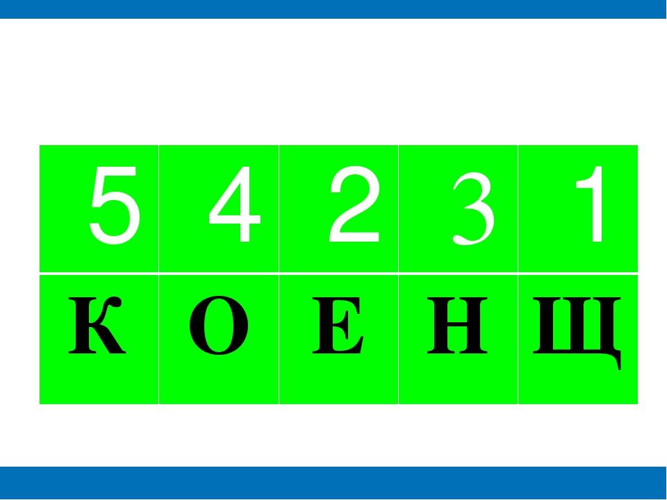 5 4 2 3 1 К О Е Н Щ