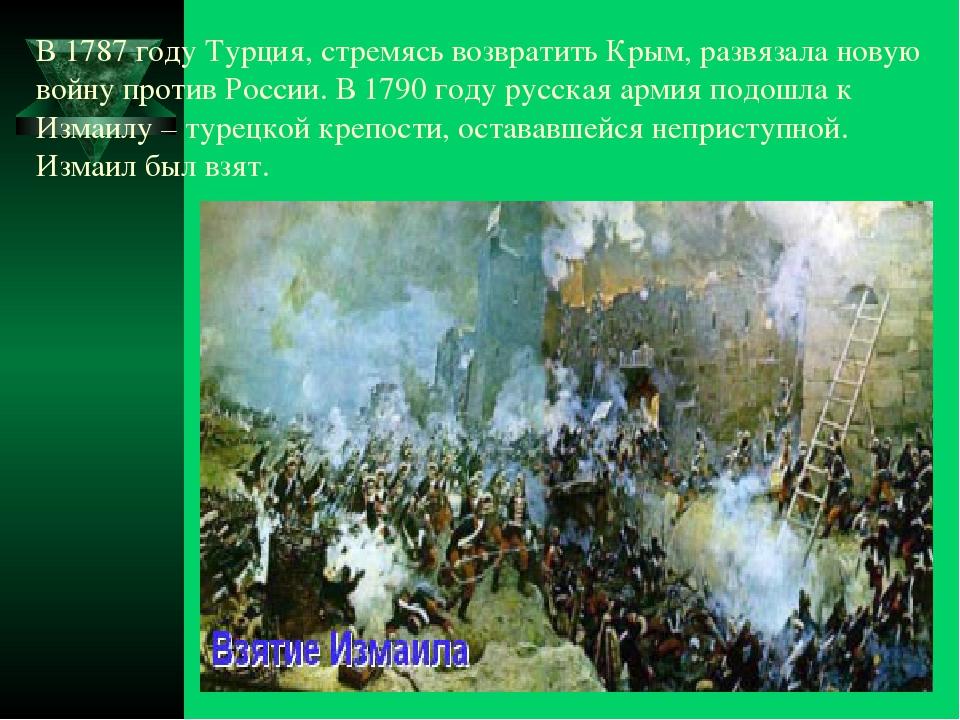 В 1787 году Турция, стремясь возвратить Крым, развязала новую войну против Ро...