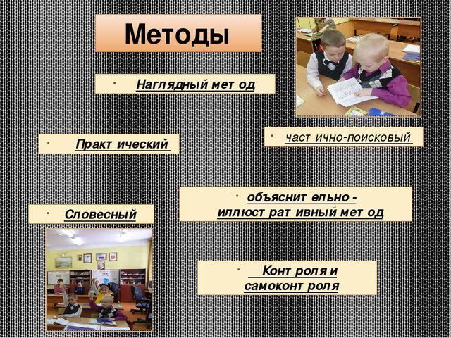 Методы частично-поисковый Наглядный метод Словесный Практический объяснительн...
