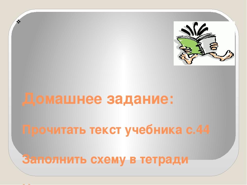 Домашнее задание: Прочитать текст учебника с.44 Заполнить схему в тетради На...