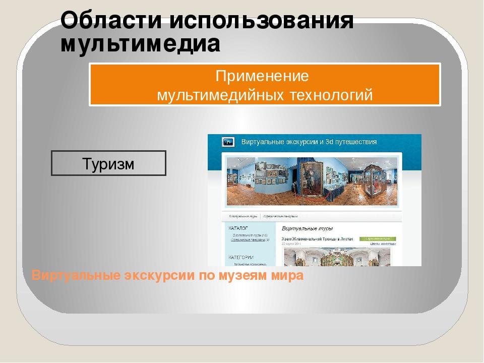 Области использования мультимедиа Применение мультимедийных технологий Туризм...
