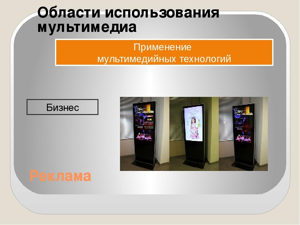 Области использования мультимедиа Применение мультимедийных технологий Бизнес...