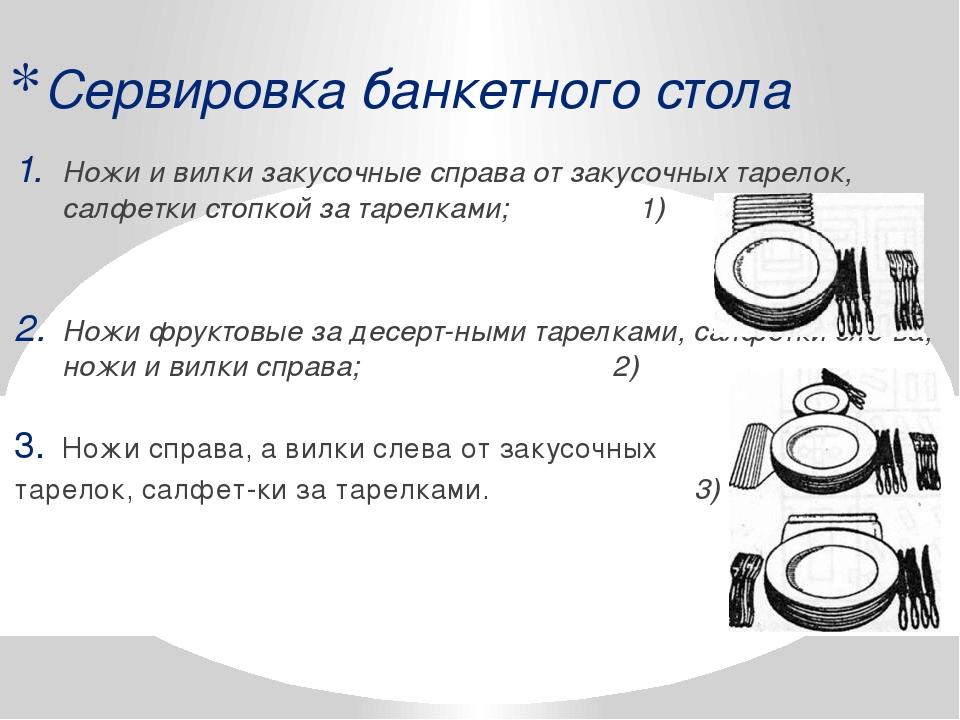 Сервировка банкетного стола Ножи и вилки закусочные справа от закусочных таре...