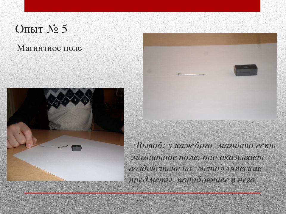 Опыт № 5 Магнитное поле Вывод: у каждого магнита есть магнитное поле, оно ока...