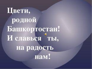 Цвети, родной  Башкортостан! И славься ты, на радость нам!