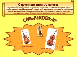 Струнные инструменты Звук струнных инструментов получается в результате колеб
