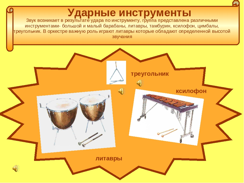Ударные инструменты Звук возникает в результате удара по инструменту, группа...