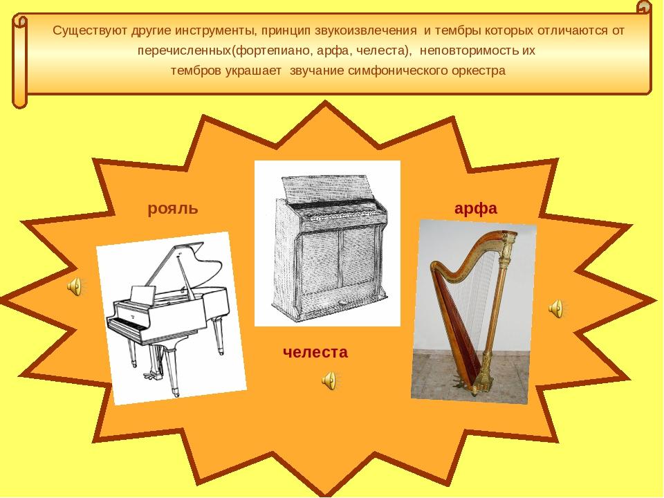 Существуют другие инструменты, принцип звукоизвлечения и тембры которых отлич...