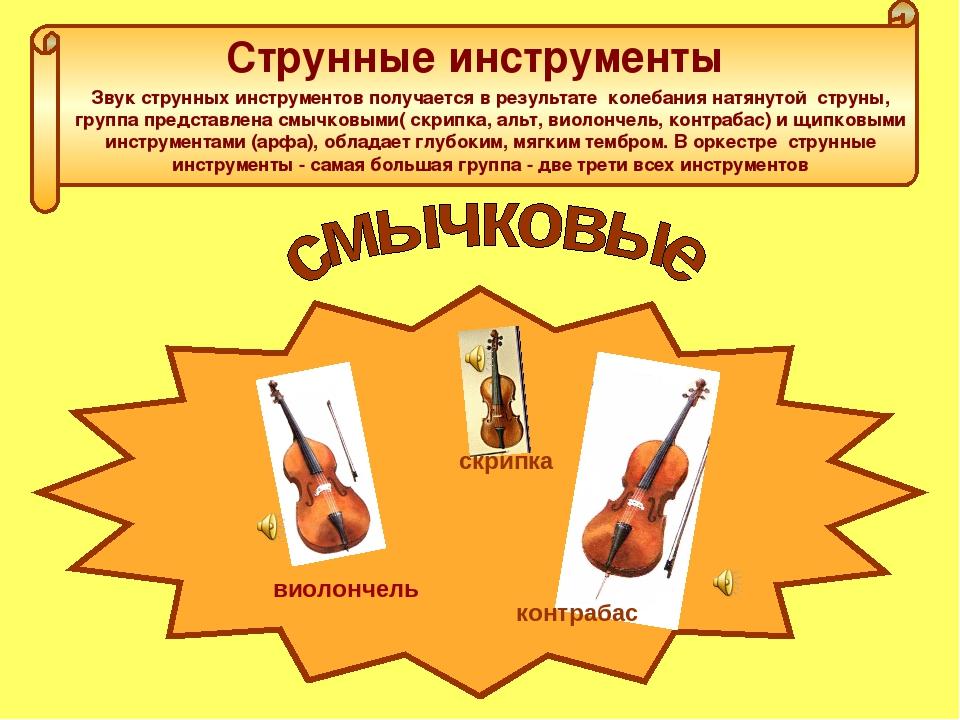Струнные инструменты Звук струнных инструментов получается в результате колеб...