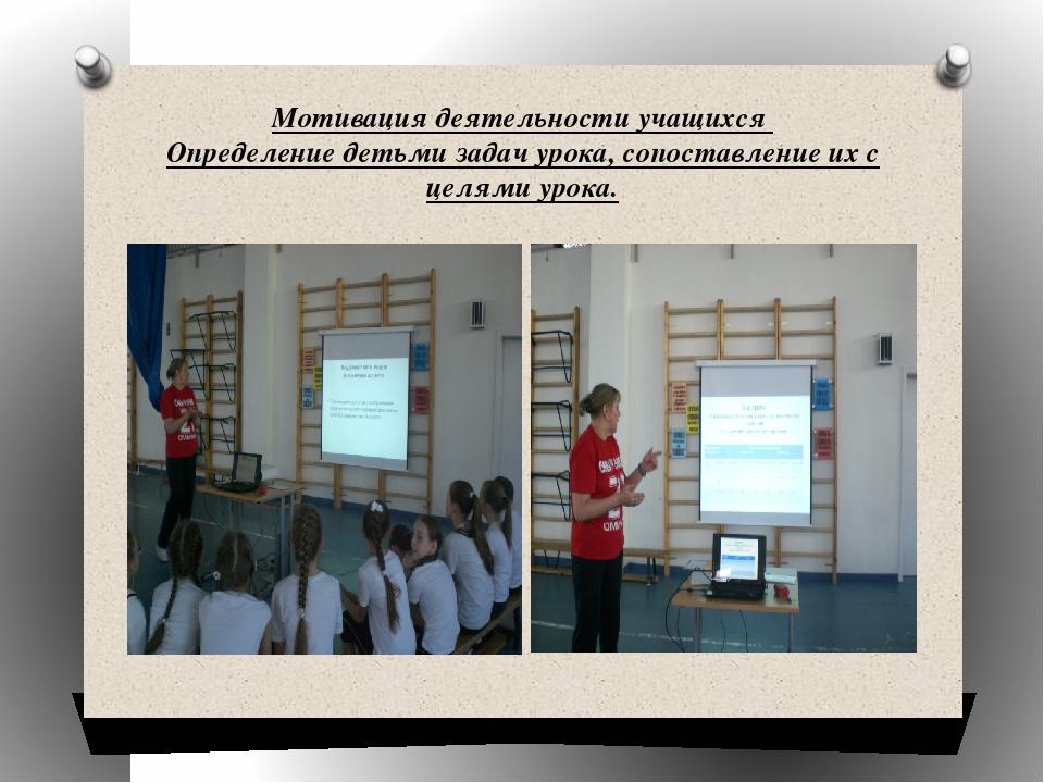 Мотивация деятельности учащихся Определение детьми задач урока, сопоставление...