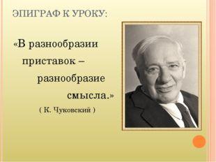ЭПИГРАФ К УРОКУ: «В разнообразии приставок – разнообразие смысла.» ( К. Чуков