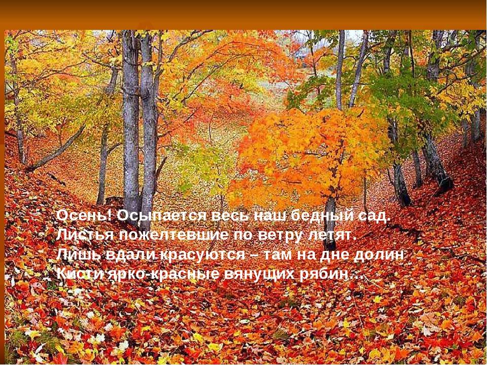 Осень! Осыпается весь наш бедный сад. Листья пожелтевшие по ветру летят. Лишь...
