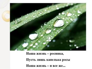 Наша жизнь – росинка, Пусть лишь капелька росы Наша жизнь – и все же...