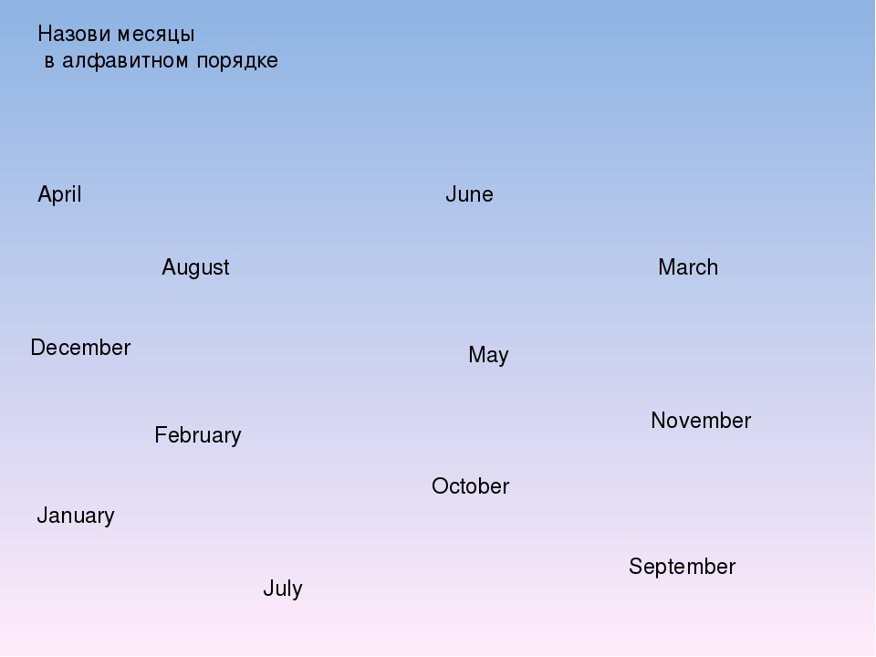 Назови месяцы в алфавитном порядке April August December February January Jul...