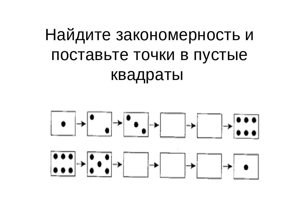 Найдите закономерность и поставьте точки в пустые квадраты