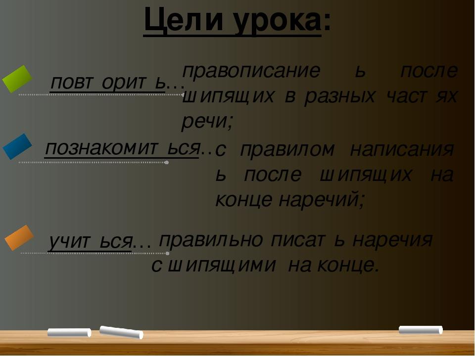Цели урока: повторить… познакомиться… учиться… правописание ь после шипящих в...
