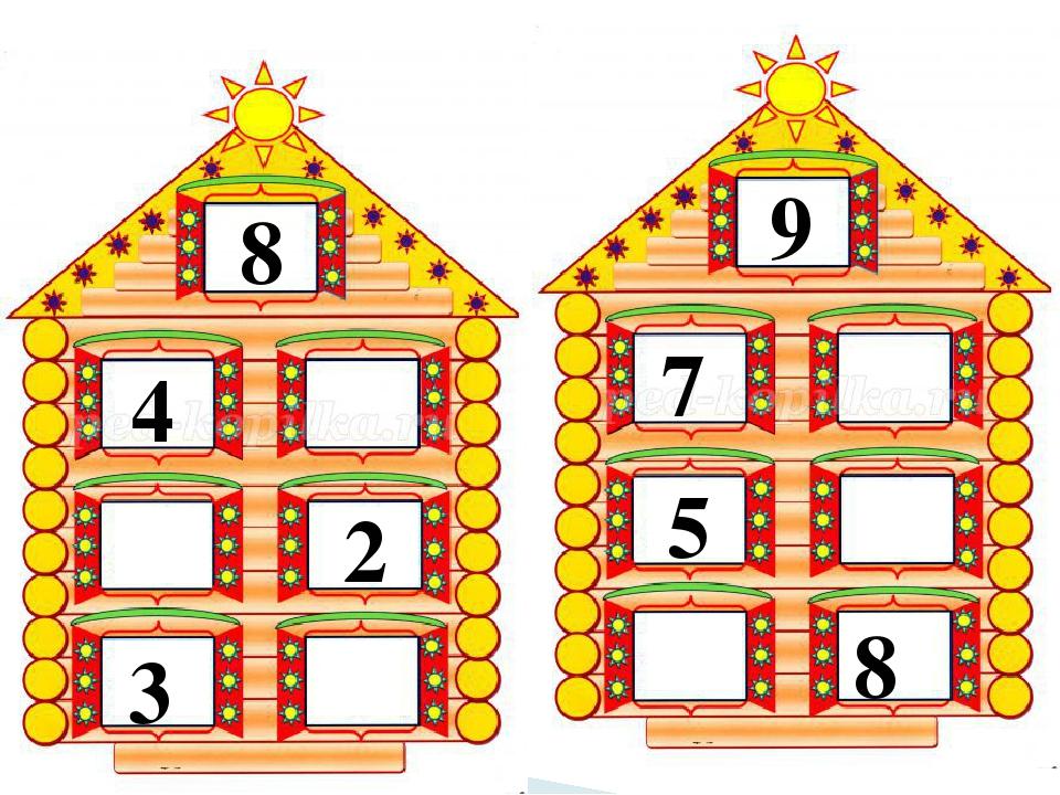 Лет, картинка числовые домики для детей для занятия по математике