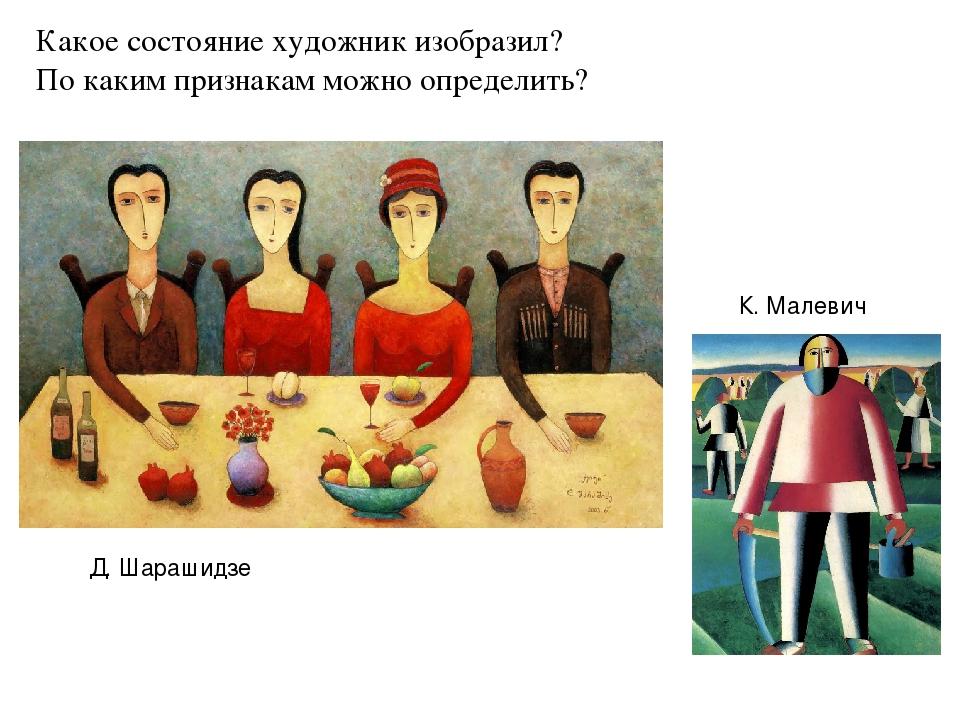 Какое состояние художник изобразил? По каким признакам можно определить? Д. Ш...