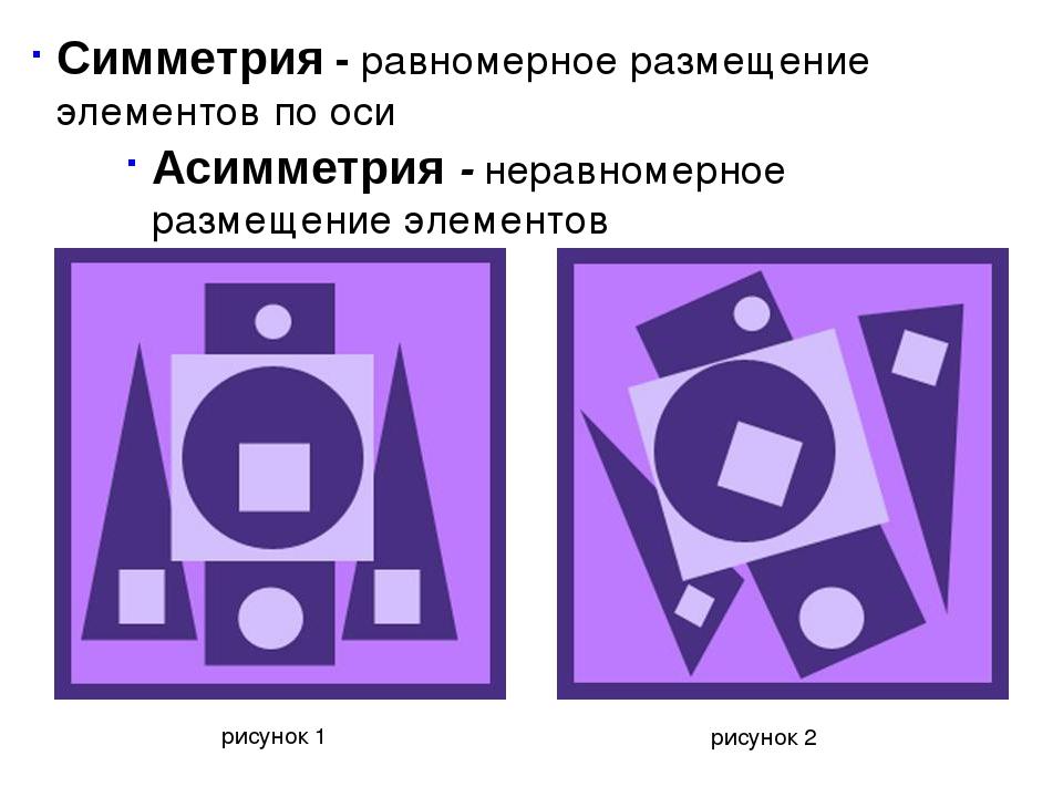 рисунок 1 рисунок 2 Симметрия - равномерное размещение элементов по оси Асимм...