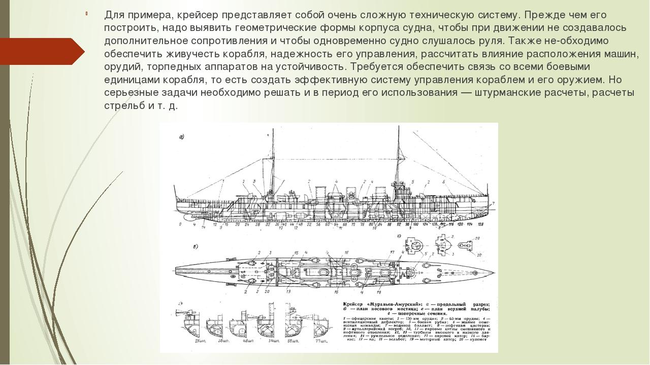 Для примера, крейсер представляет собой очень сложную техническую систему. Пр...