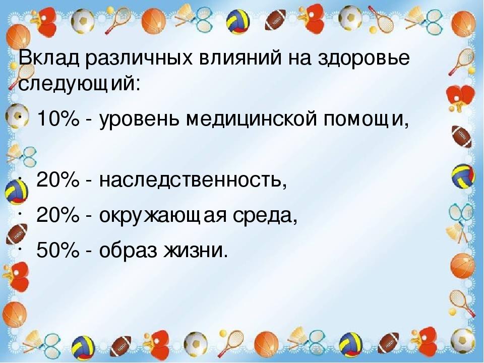 Вклад различных влияний на здоровье следующий:   10% - уровень медицинской...
