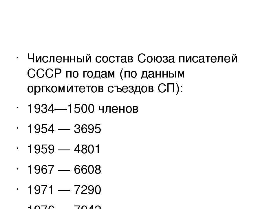 Численный состав Союза писателей СССР по годам (по данным оргкомитетов съезд...