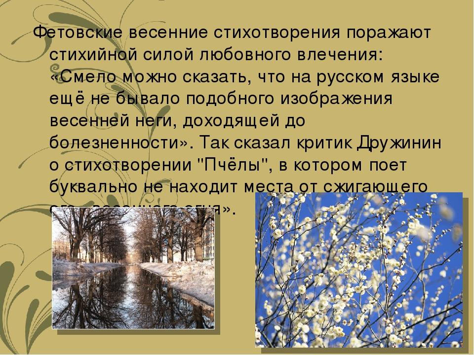 Фетовские весенние стихотворения поражают стихийной силой любовного влечения:...