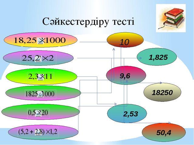 18250 1,825 50,4 9,6 2,53 10 Сәйкестердіру тесті