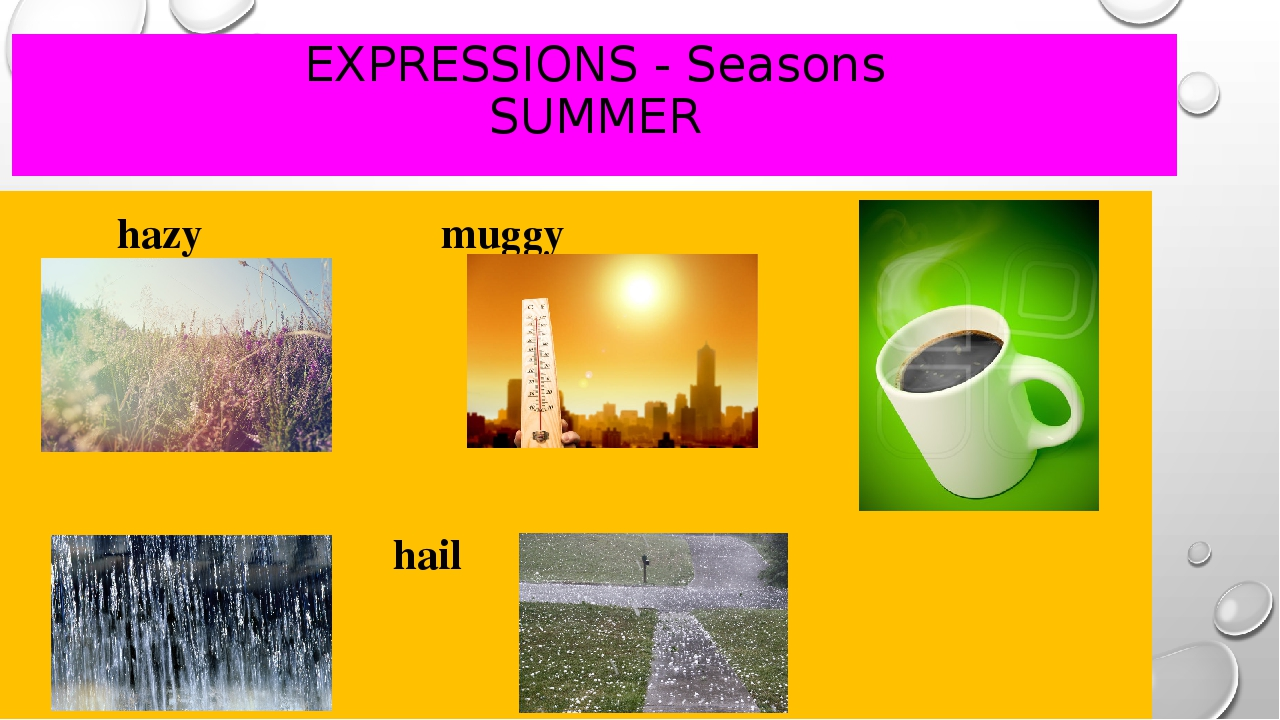 EXPRESSIONS - Seasons SUMMER hazy					muggy downpour 			hail