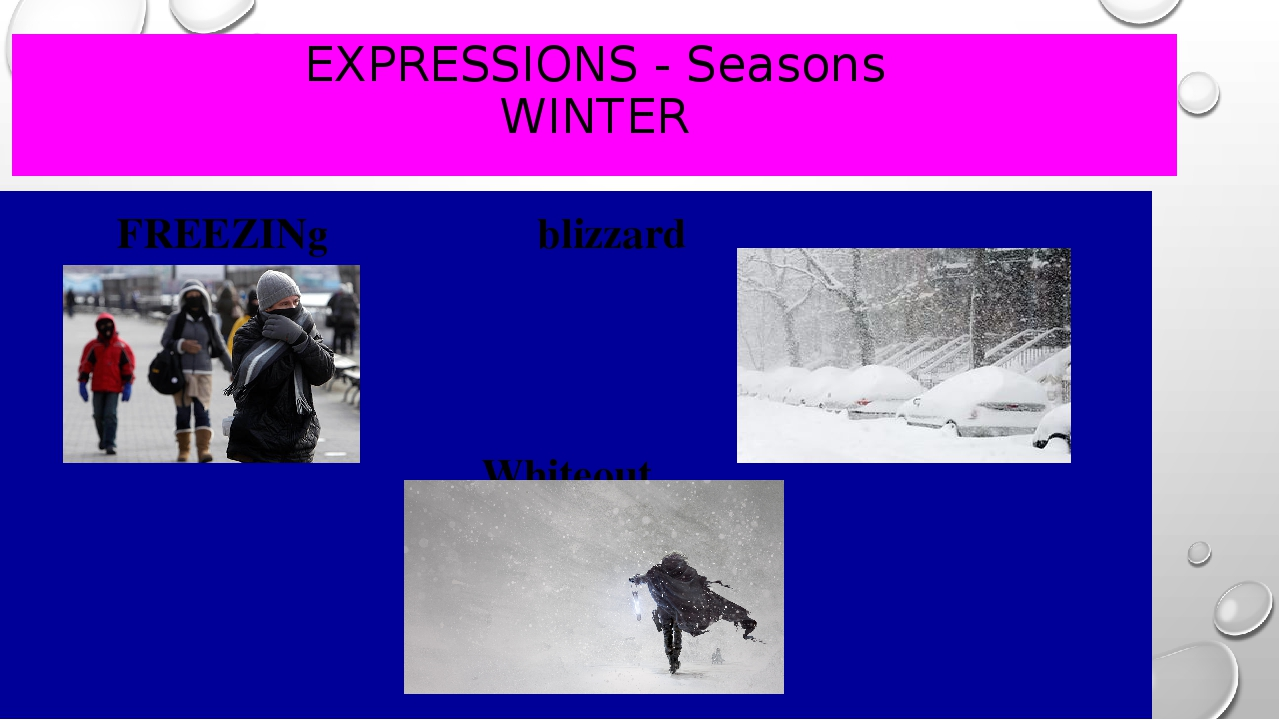 EXPRESSIONS - Seasons WINTER FREEZINg					blizzard Whiteout