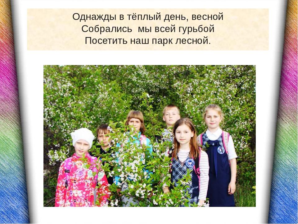 Однажды в тёплый день, весной Собрались мы всей гурьбой Посетить наш парк лес...