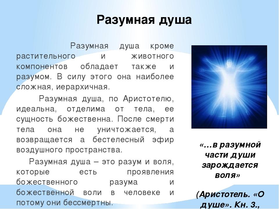 Разумная душа Разумная душа кроме растительного и животного компонентов облад...