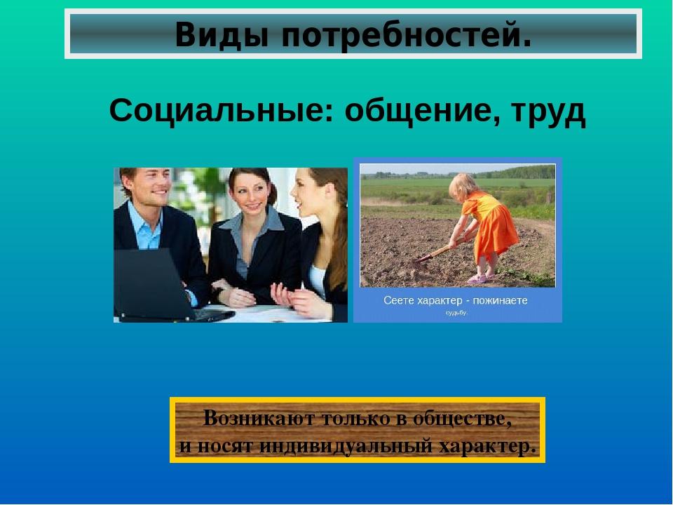 Виды потребностей. Социальные: общение, труд Возникают только в обществе, и н...