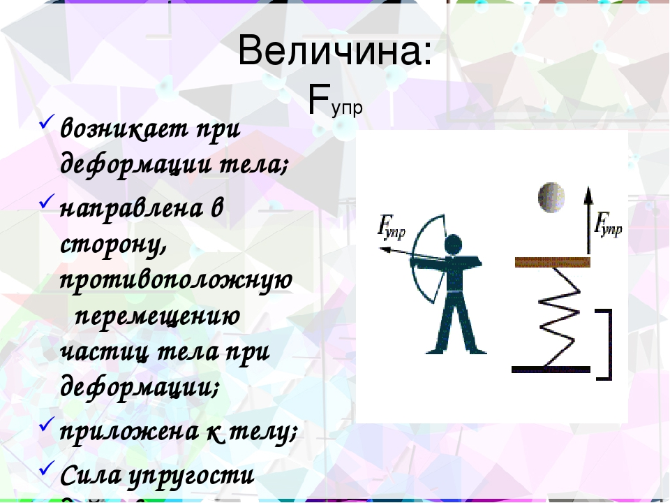Величина: Fупр возникает при деформации тела; направлена в сторону, противопо...