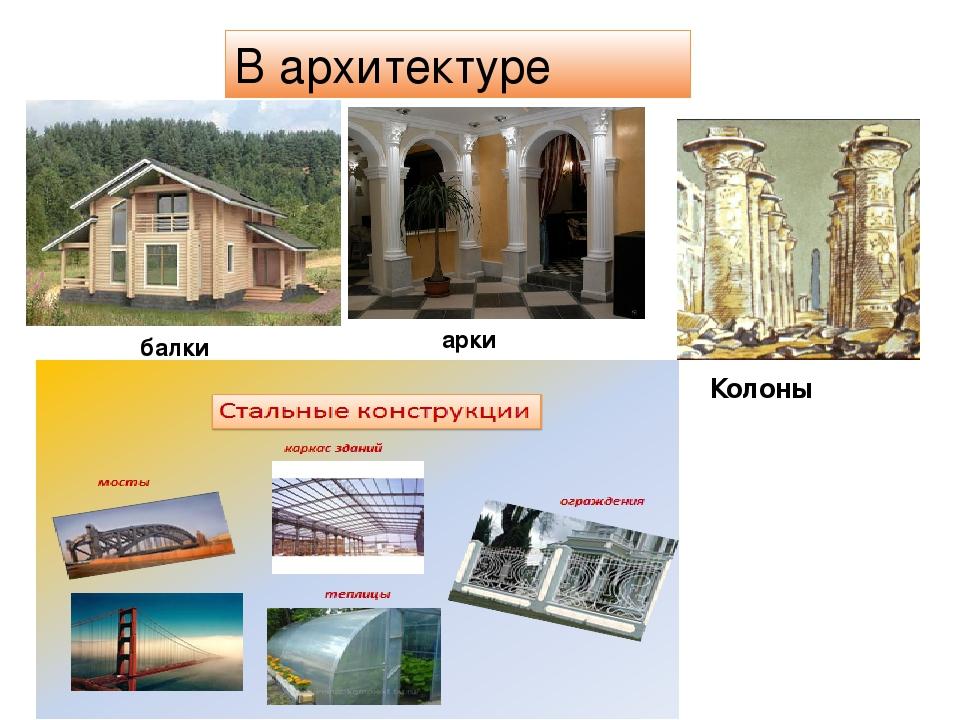В архитектуре арки Колоны балки