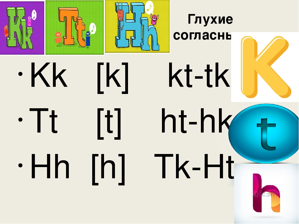 Глухие согласные Kk [k] kt-tk Tt [t] ht-hk Hh [h] Tk-Ht