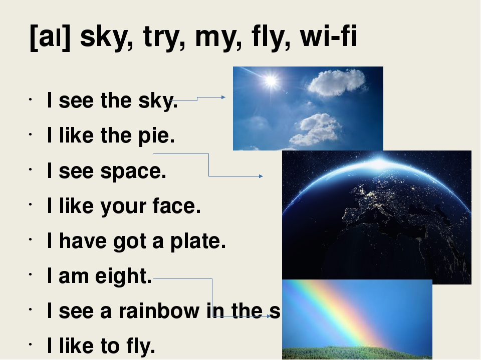 [aI] sky, try, my, fly, wi-fi I see the sky. I like the pie. I see space. I l...