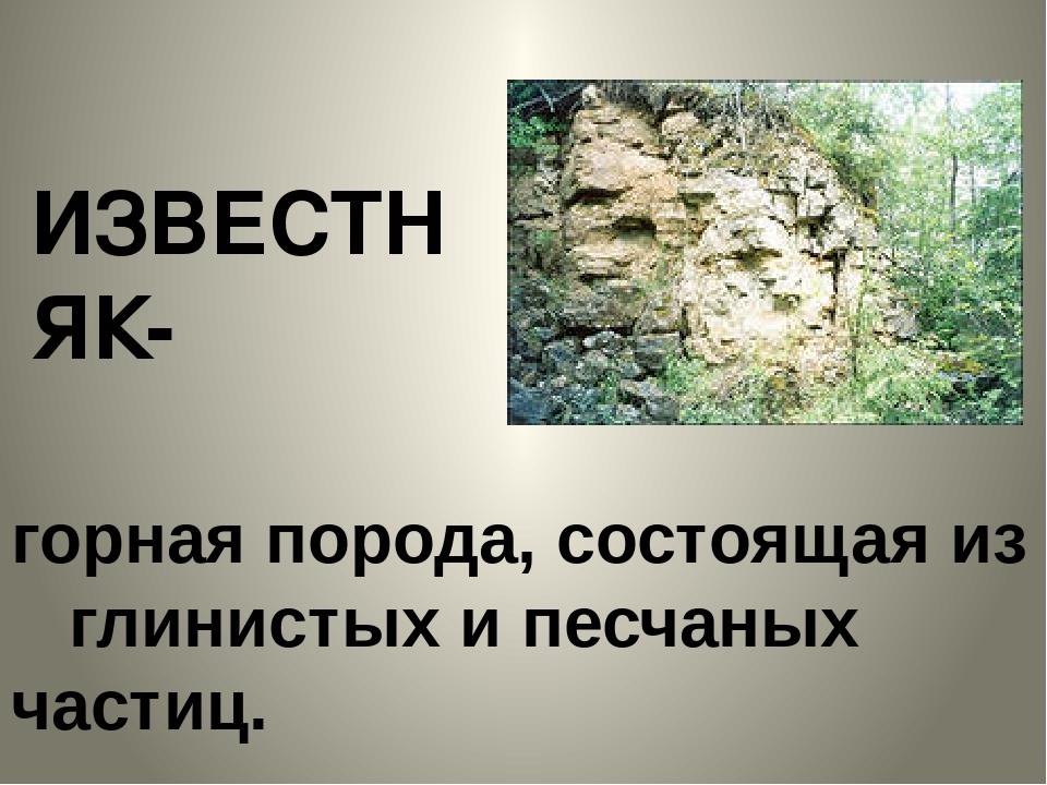 горная порода, состоящая из глинистых и песчаных частиц. ИЗВЕСТНЯК-