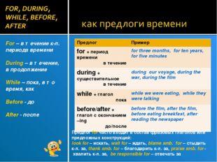 For – в течение к-л. периода времени During – в течение, в продолжение While