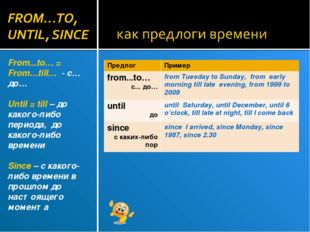 From...to… = From…till… - с… до… Until = till – до какого-либо периода, до ка