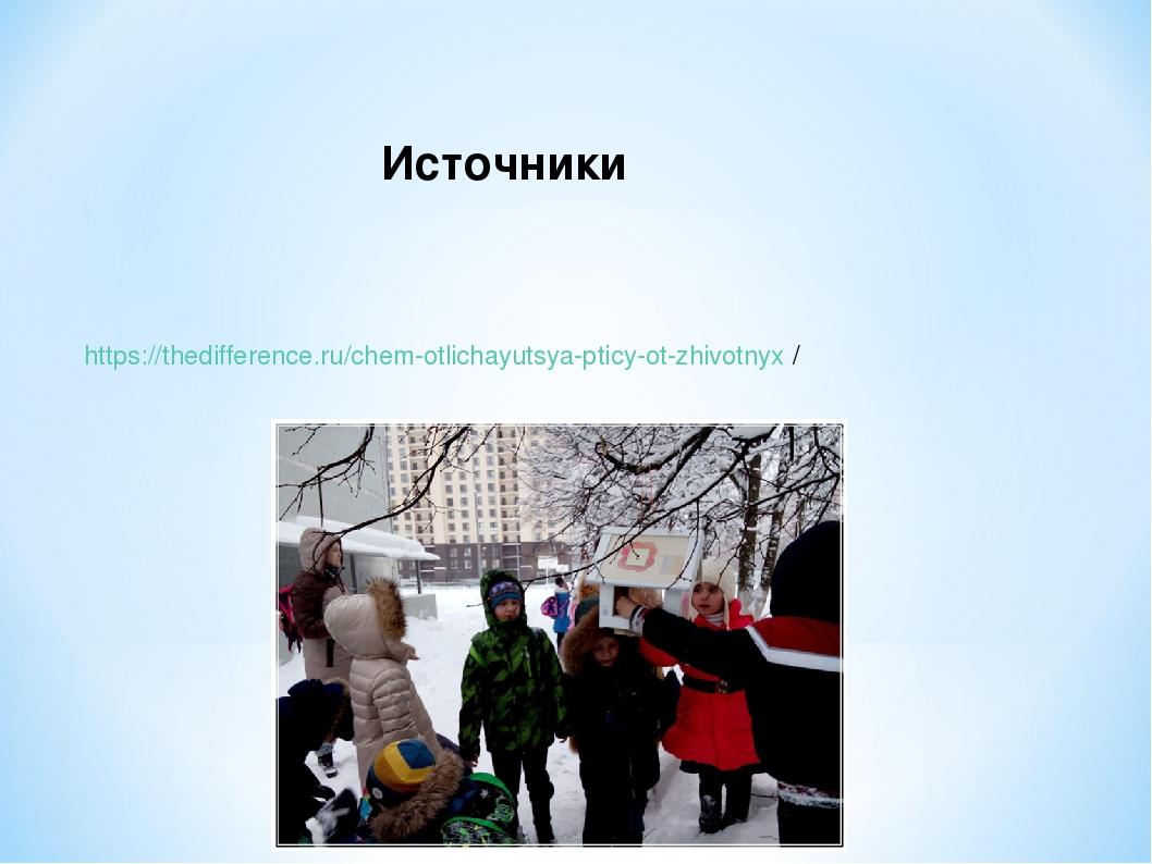 https://thedifference.ru/chem-otlichayutsya-pticy-ot-zhivotnyx / Источники