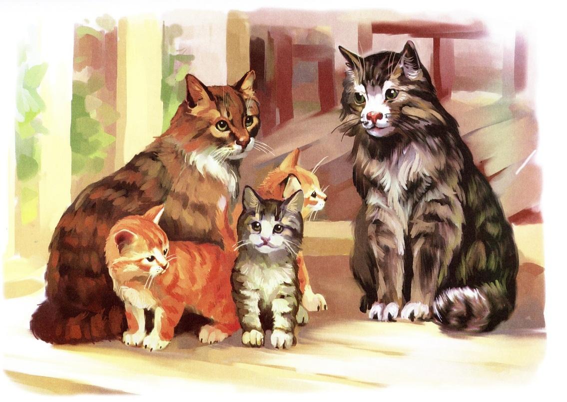 фото картинки по развитию речи кошка с котятами применению