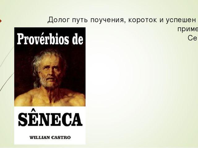 Долог путь поучения, короток и успешен путь примеров. Сенека