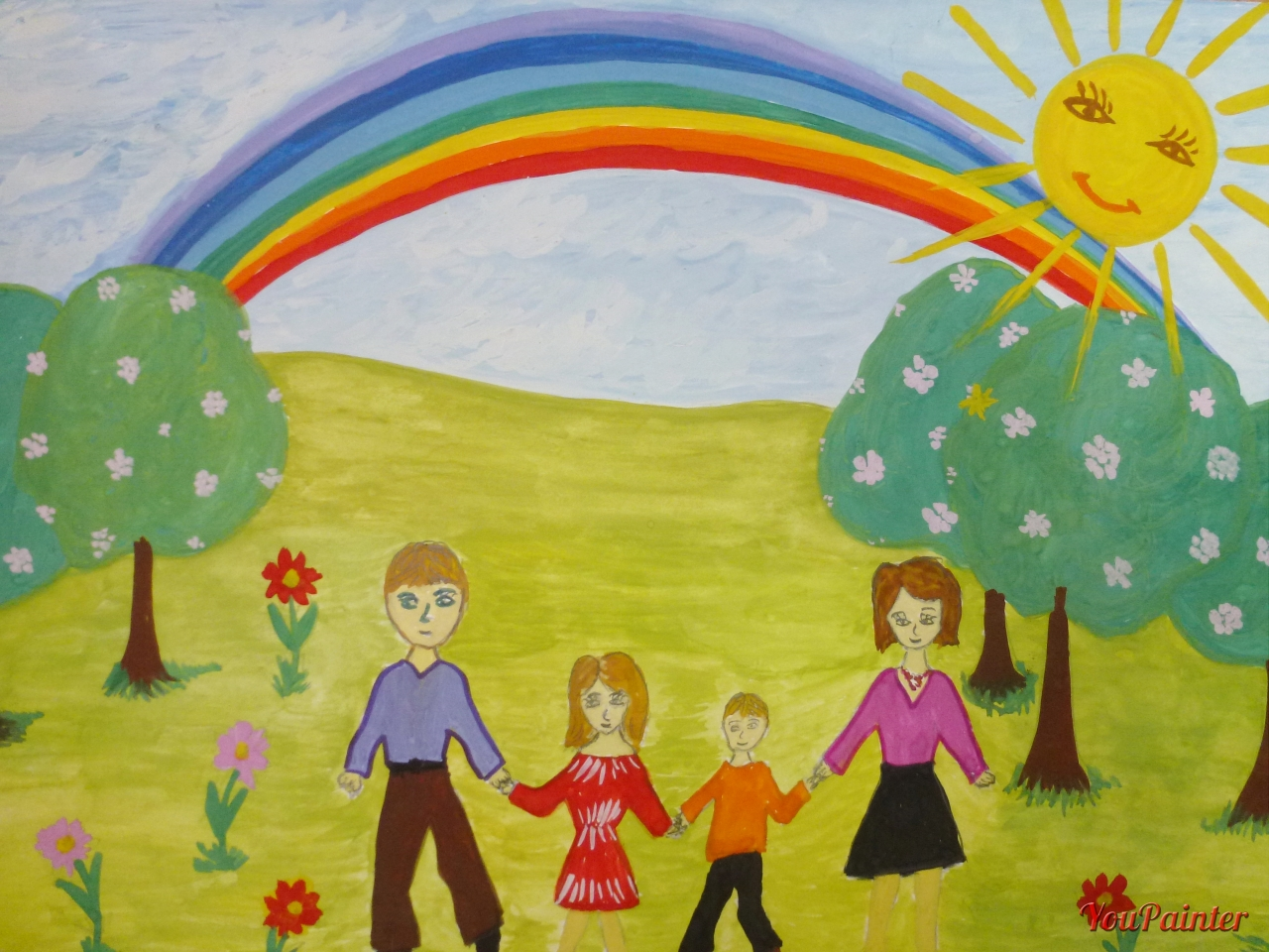 Детские рисунки на тему моя семья в картинках