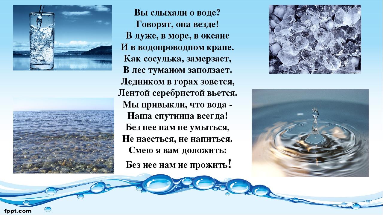 Стихи о воде в картинках