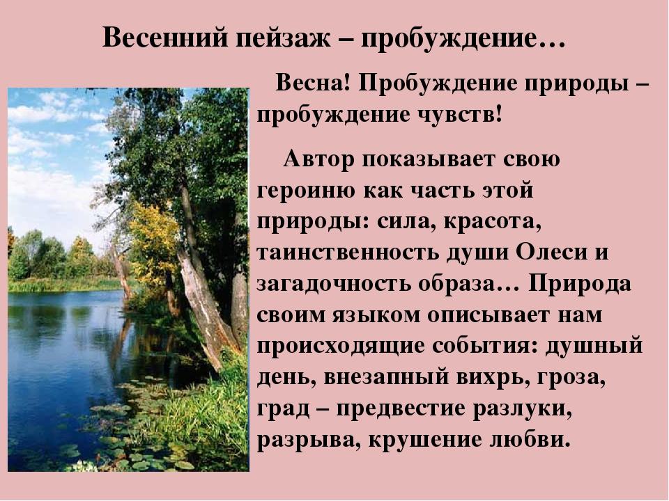 Весенний пейзаж – пробуждение… Весна! Пробуждение природы – пробуждение чувст...