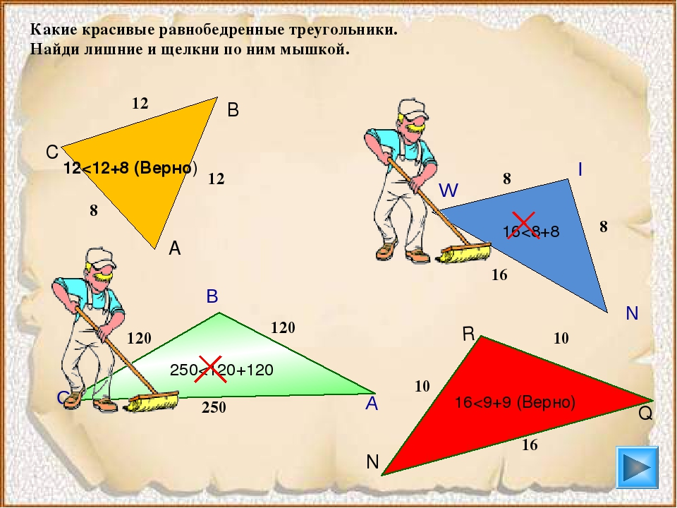 Какие красивые равнобедренные треугольники. Найди лишние и щелкни по ним мышк...