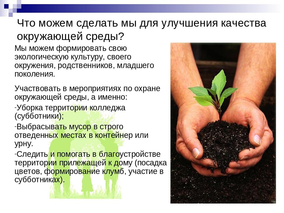 Что можем сделать мы для улучшения качества окружающей среды? Мы можем формир...